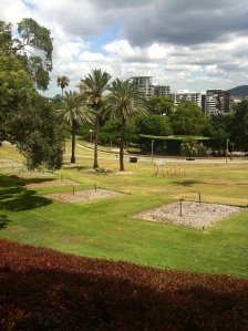 Albert park, incline and soft grass.